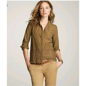 J. Crew Delaney Olive Green Button Front Blouse 8